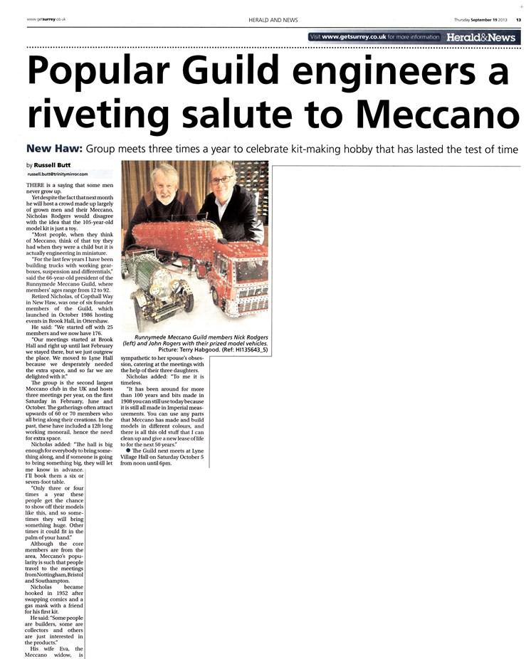 Surrey Herald Article - 19th September 2013